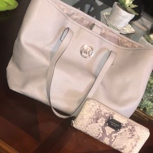 BUNDLE: Michael Kors Gray Tote & Snakeskin wallet.